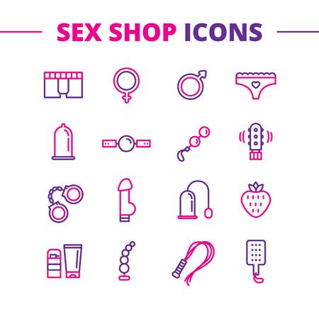sex shop: Vector sex shop icons set. Trendy two color line style sex store symbols Illustration