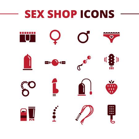 Vector sex shop icons set. Trendy two color line style sex store symbols  イラスト・ベクター素材