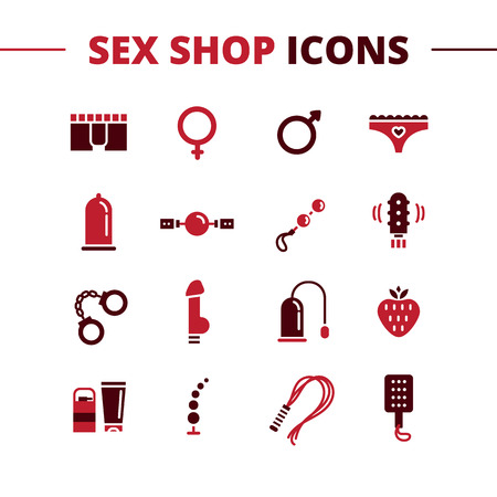 Vector sex shop icons set. Trendy two color line style sex store symbols 向量圖像