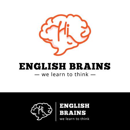 talking dictionary: Vector english courses logo concept. Brain as a talking bubble logotype. English school symbol.