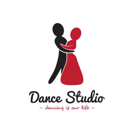 minimalistic: Vector minimalistic dance studio . Dancing couple