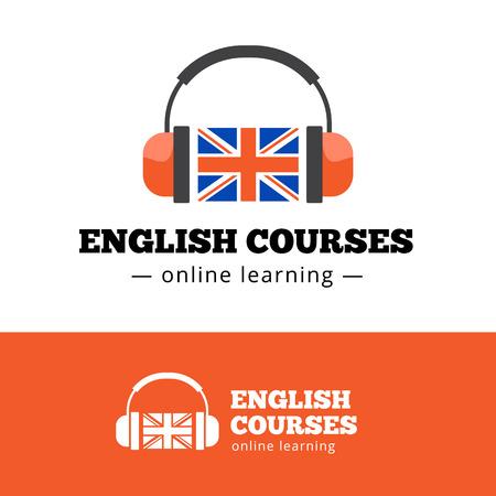 英国の旗とヘッドフォンとベクトルの英語コース コンセプト。英語学校
