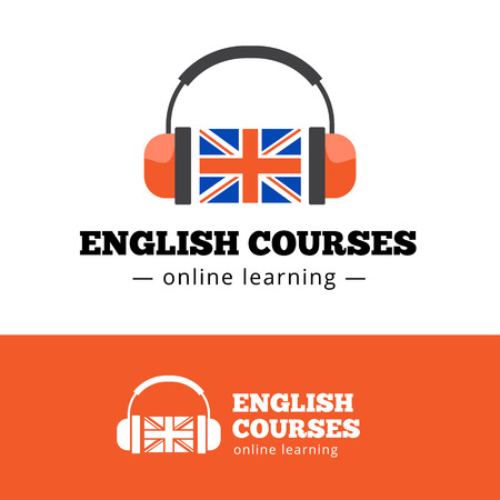 in english: Vector english courses  concept with british flag and headphones. English school  Illustration