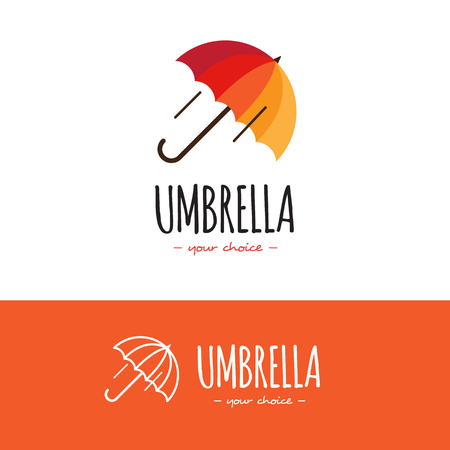 beach umbrella: Vecto colorful orange and red umbrella logo. Umbrella logotype with line version
