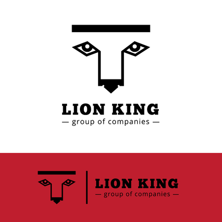 simple logo: Vector minimalistic lion logo. Simple lion face logotype
