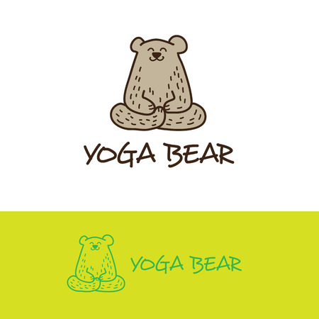 vector cartoon: Vector cartoon style bear in yoga pose logo. Cute logotype Illustration