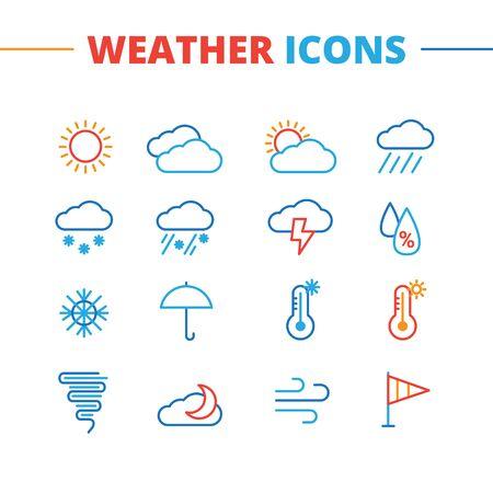 meteo: Icone di vettore del tempo impostato. linea minimalista collezione simboli stile Vettoriali