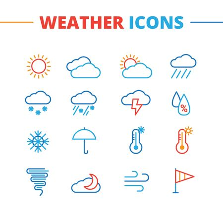 weather: Vector weather icons set. Minimalistic line style symbols collection