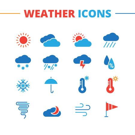 meteo: Tempo vettore di tendenza icone set. Minimalista collezione simboli stile piatta