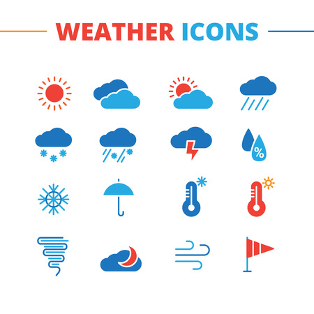 weather: Vector trendy weather icons set. Minimalistic flat style symbols collection
