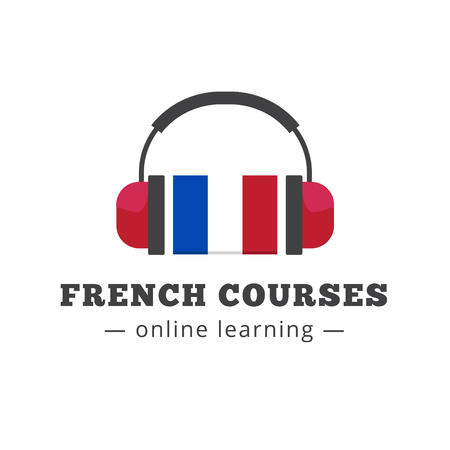 france: Vector french courses logo concept with flag and headphones. French school logotype Illustration