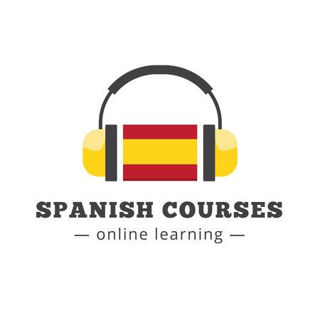 Vector spanish courses logo concept with flag and headphones. Spanish school logotype