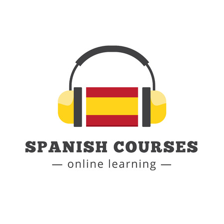 talking dictionary: Vector spanish courses logo concept with flag and headphones. Spanish school logotype