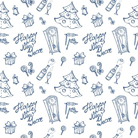 cartoon clock: Vector doodle New Year seamless pattern in sketch style