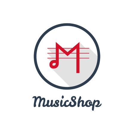 Vector flat modern minimalistic music shop logo