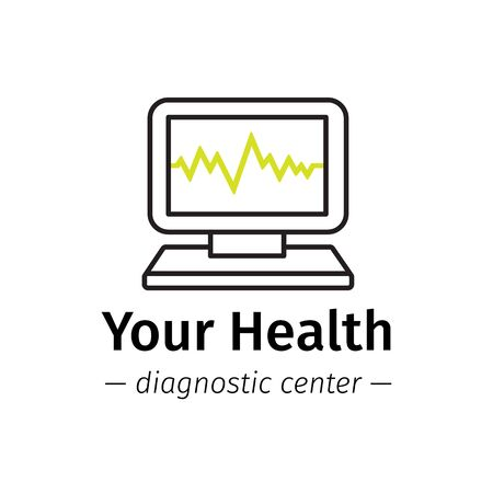 medical center: Vector line style medical center logo. Diagnostic logotype. Computer with cardiogram on screen symbol.