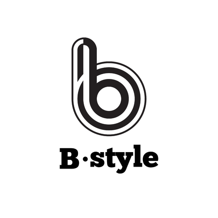 Vector black and white abstract logo. B letter logotype with stripes