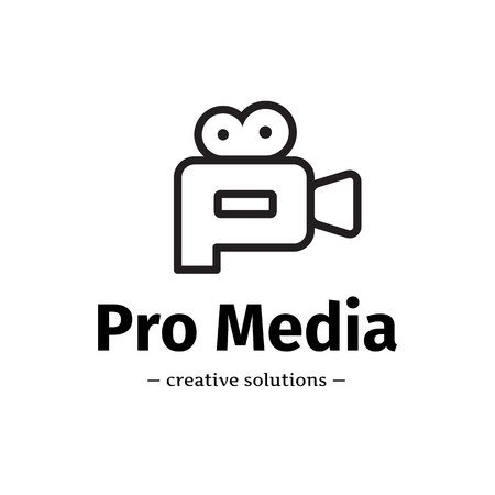 Vector line style camera logo. Media business P letter logotype