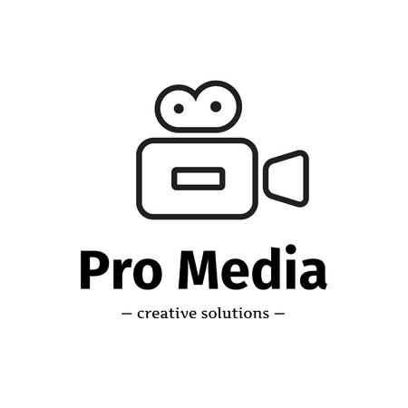 Vector line style camera logo. Media business logotype