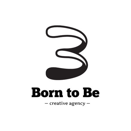studio b: Vector creative B letter logo. Abstract black and white logotype. Illustration