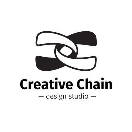letter c: Vector creative abstract logo. Black and white chain logotype. Illustration