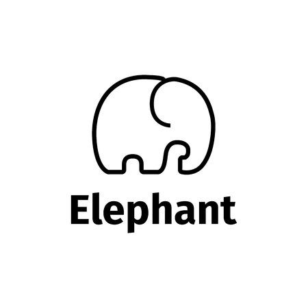 Vector black line style minimalistic elephant logo
