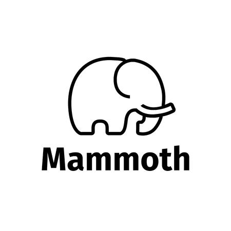 Vector black line style minimalistic mammoth logo