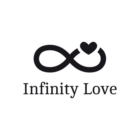 Vector infinity sign with heart logotype. Modern romantic logo