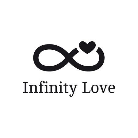 Vettore infinito segno con il logo del cuore. Moderno logo romantico Archivio Fotografico - 46448848