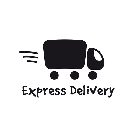 Vector black truck logotype. Express delivery minimalistic logo. 向量圖像