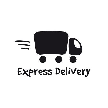 shipment: Vector black truck logotype. Express delivery minimalistic logo. Illustration