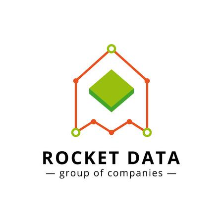 logo marketing: Vector A and M letters charts logotype. Marketing rocket logo Illustration