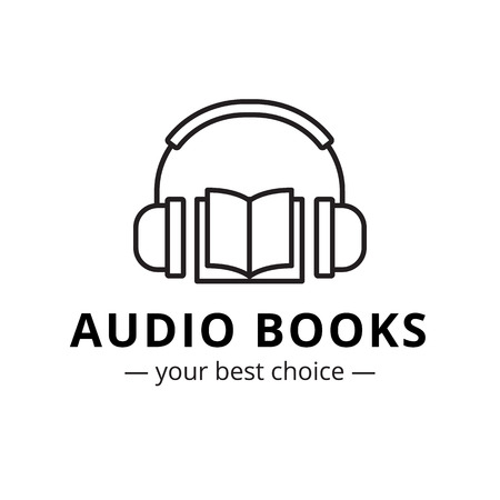 Vector modern audio books store logo. Line style book and headphones logotype.