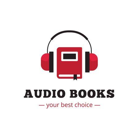 Vector modern audio books store logo. Red book and headphones logotype.