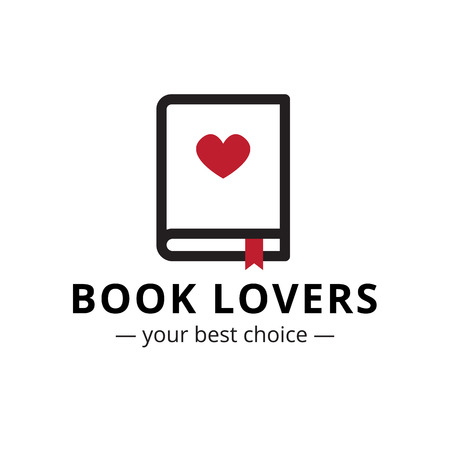 bookseller: Vector trendy minimalistic line style book with heart black and red logo Illustration
