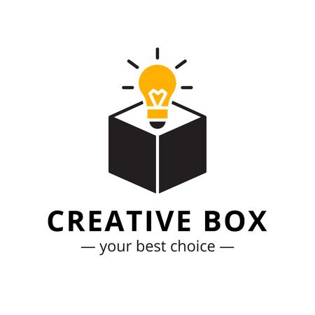 Vector trendy minimalistic light bulb in a box logo