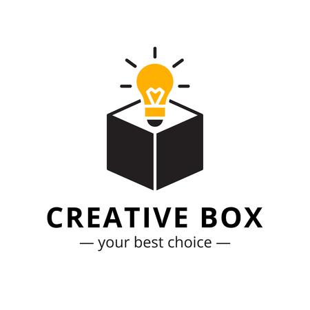 thinking icon: Vector trendy minimalistic light bulb in a box logo