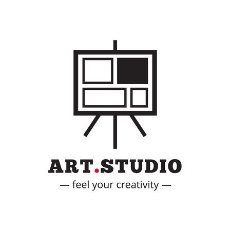art studio: Vector minimalistic art studio logo. Easel icon.
