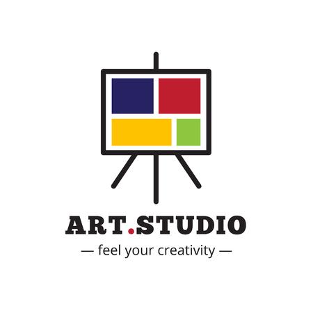 studio logo: Vector minimalistic art studio logo. Easel icon.