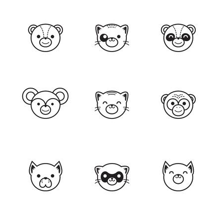 ferret: Vector line style set of funny cartoon animals Illustration