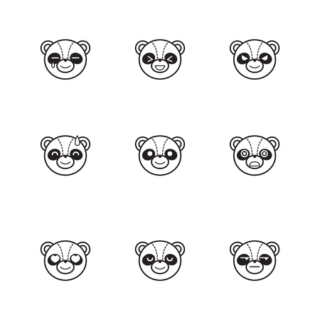 chineese: Vector line style set of funny cartoon panda faces