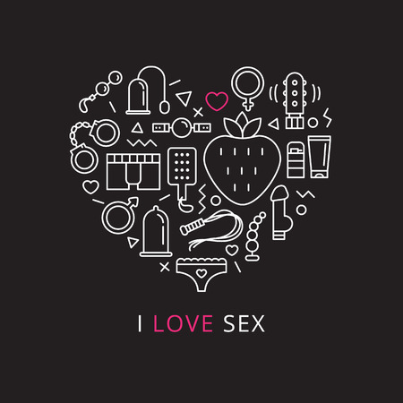 Vector sex shop icons set in shape of heart. Trendy two color line style sex store symbols
