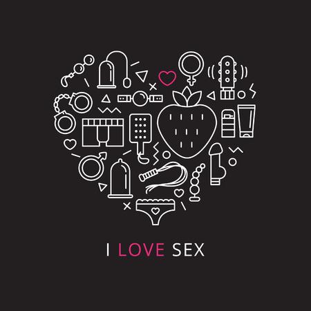 sex shop: Vector sex shop icons set in shape of heart. Trendy two color line style sex store symbols