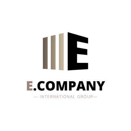 Vector modern isometric E letter logo. Brand sign