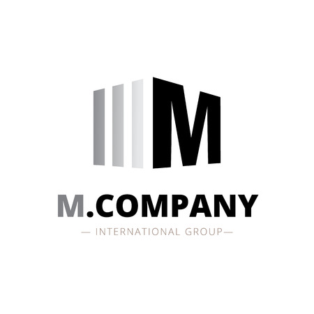 Vector modern isometric M letter logo. Brand sign