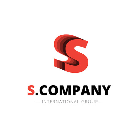 fire letter: Vector isometric layered S letter logo. 3d company sign