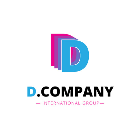 papier a lettre: Vector abstract de rose vif et bleu lettre D logo. signe de la marque. Illustration