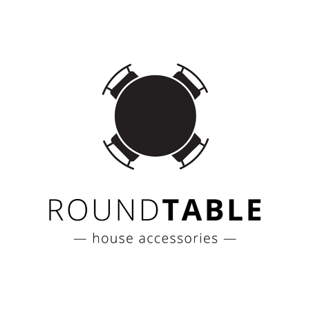 business desk: Vector minimalistic black and white round table with chairs logo. Brand sign.