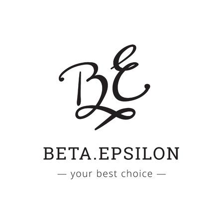Vector hand drawn style elegant letter logo. Brand sign  イラスト・ベクター素材