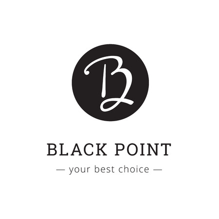 studio b: Vector hand drawn style elegant letter logo. Brand sign Illustration
